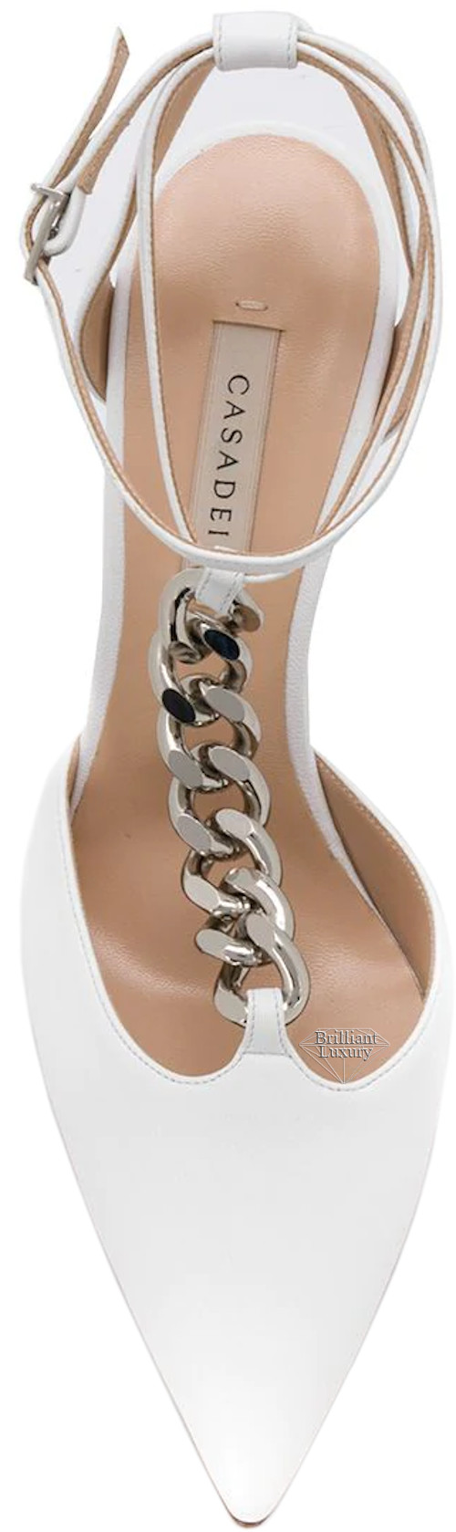 Casadei white chain strap pumps #brilliantluxury