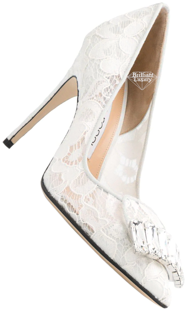 Sergio Rossi white bejeweled lace pumps #brilliantluxury