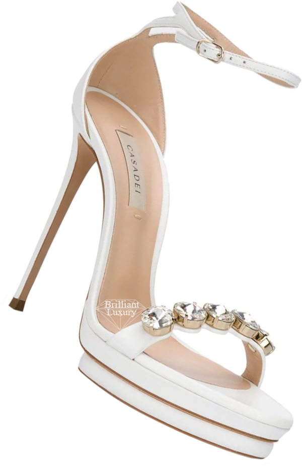 Casadei white embellished stacked-sole sandals #brilliantluxury