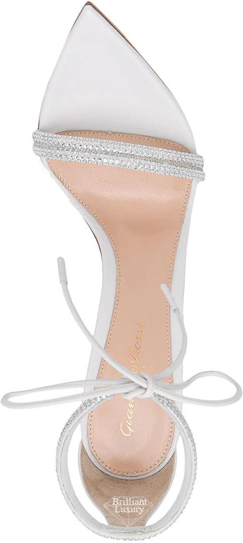Gianvito Rossi Montecarlo white bejeweled sandals #brilliantluxury