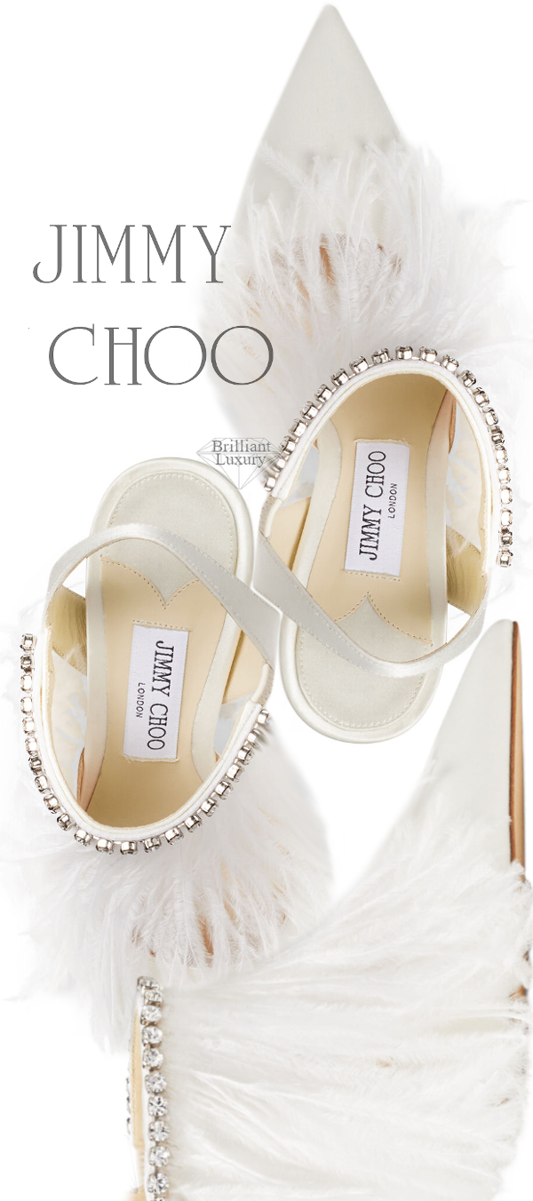 Jimmy Choo Ambre white satin slingback sandal ostrich feather crystal trim #brilliantluxury