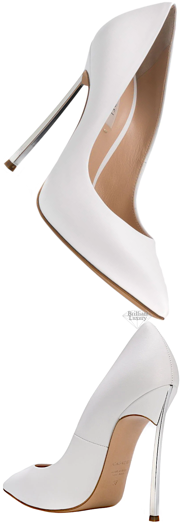 Casadei white pointed-toe stiletto pumps #brilliantluxury