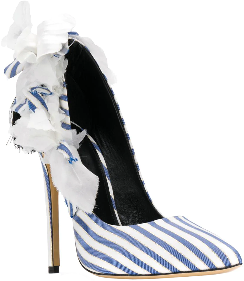 Aleksander Siradekian blue striped Fleurs pump #brilliantluxury