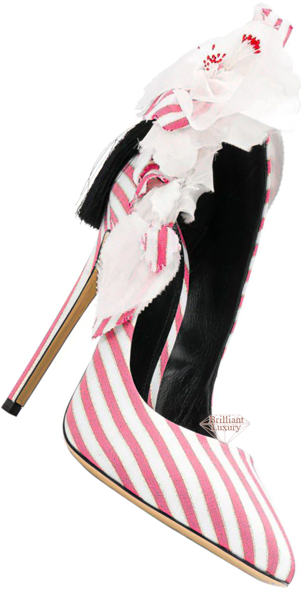 Aleksander Siradekian pink striped appliqué detail pump #brilliantluxury