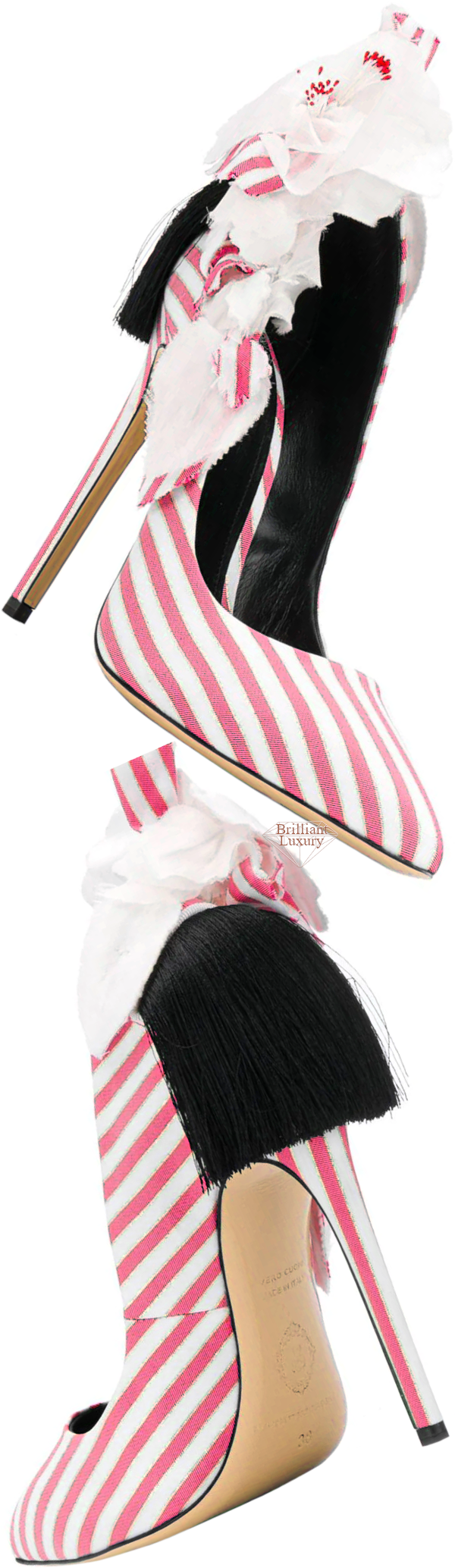 pink striped appliqué detail pump #brilliantluxury