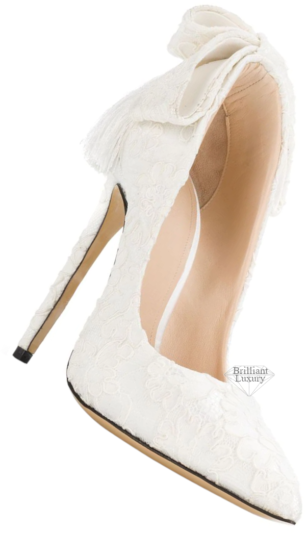 Aleksander Siradekian white Izo bow pump #brilliantluxury