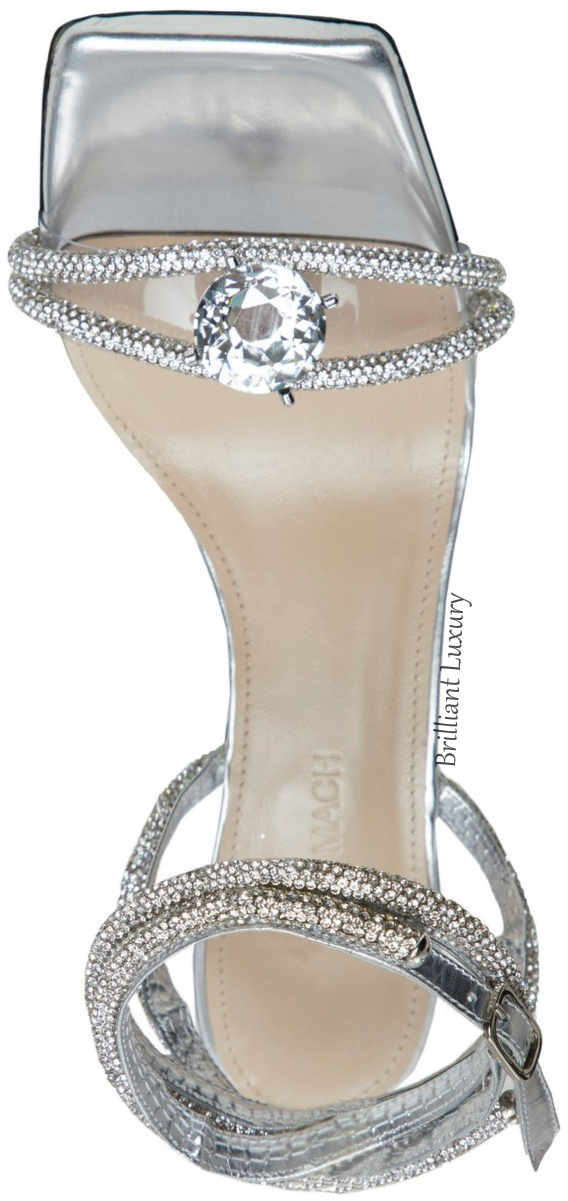 Mach & Mach bejeweled silver Diamond of Elisabeth sandal bejeweled evening shoes #brilliantluxury