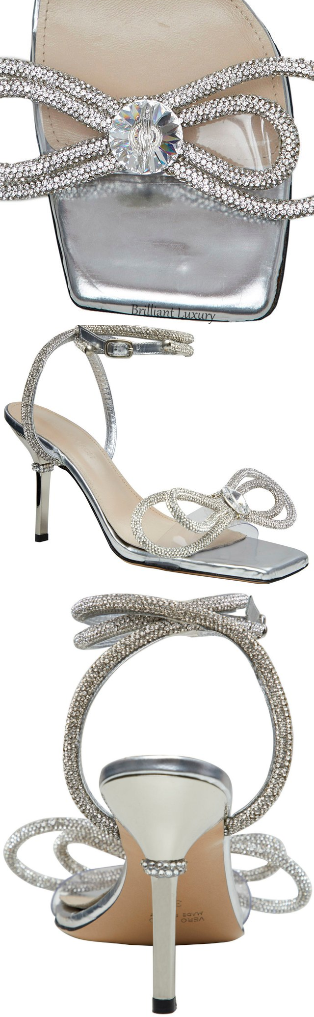 Mach & Mach silver crystal bow-embellished sandal #brilliantluxury