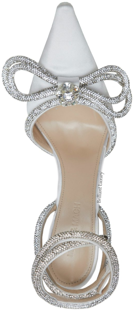 Mach & Mach white crystal bejeweled double bow sandal #brilliantluxury