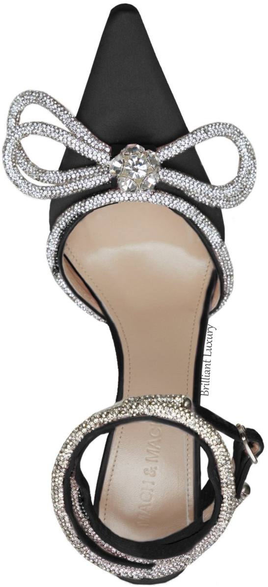 Mach & Mach black crystal bejeweled double bow sandal #brilliantluxury