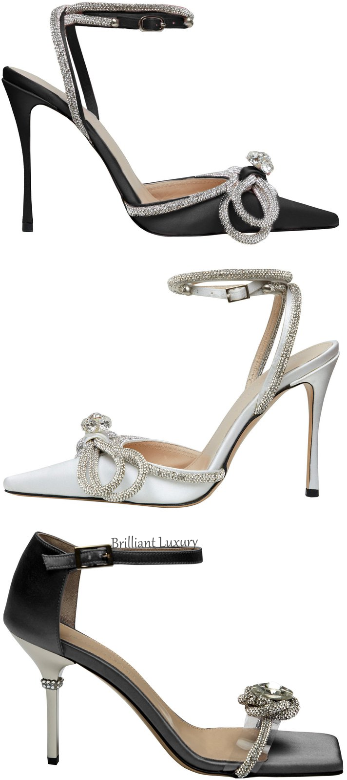 Mach & Mach black & white bejeweled shoes #brilliantluxury