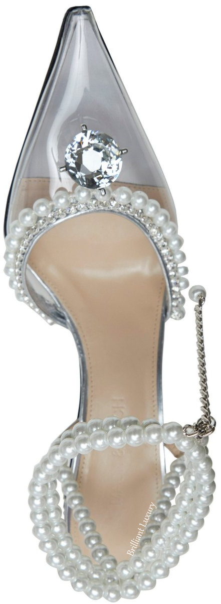 Mach & Mach pearl bejeweled silver Diamond Of Elizabeth pump bejeweled evening shoes #brilliantluxury
