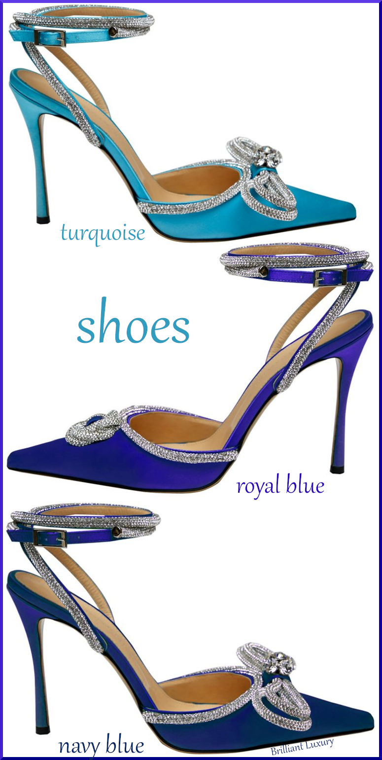 Mach & Mach 3 different blue crystal double bow pumps colorful evening shoes #brilliantluxury