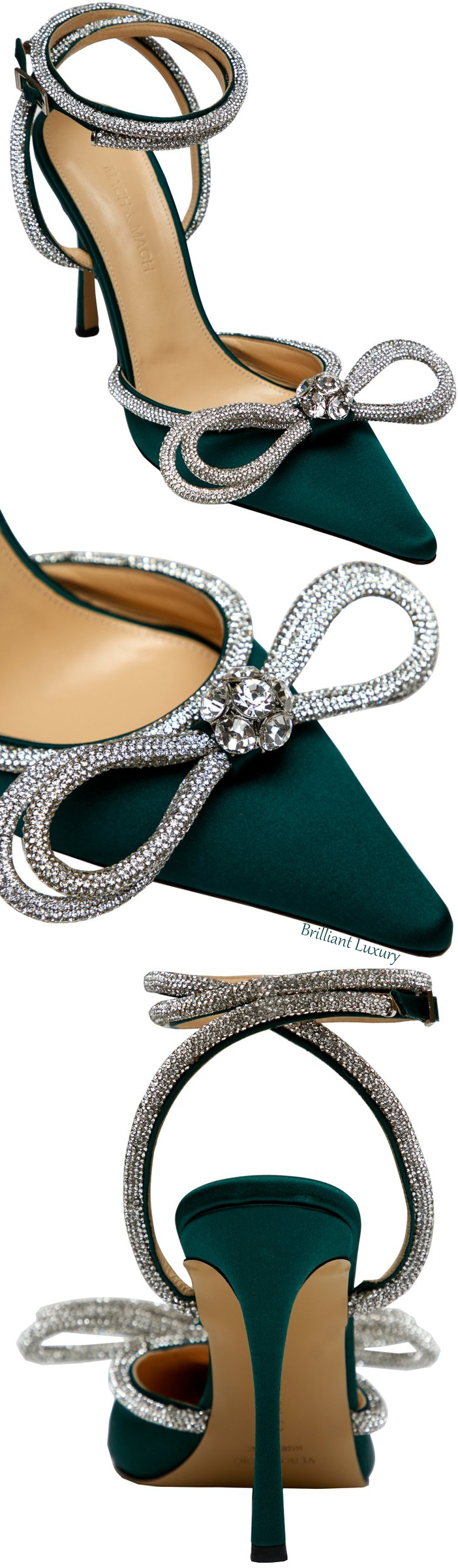 Mach & Mach green crystal double bow pump #brilliantluxury
