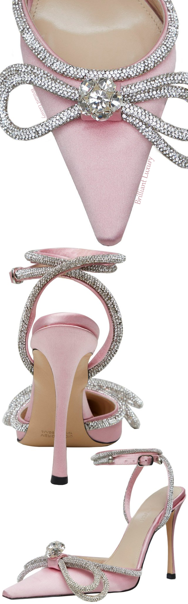 Mach & Mach pink crystal double bow pump #brilliantluxury
