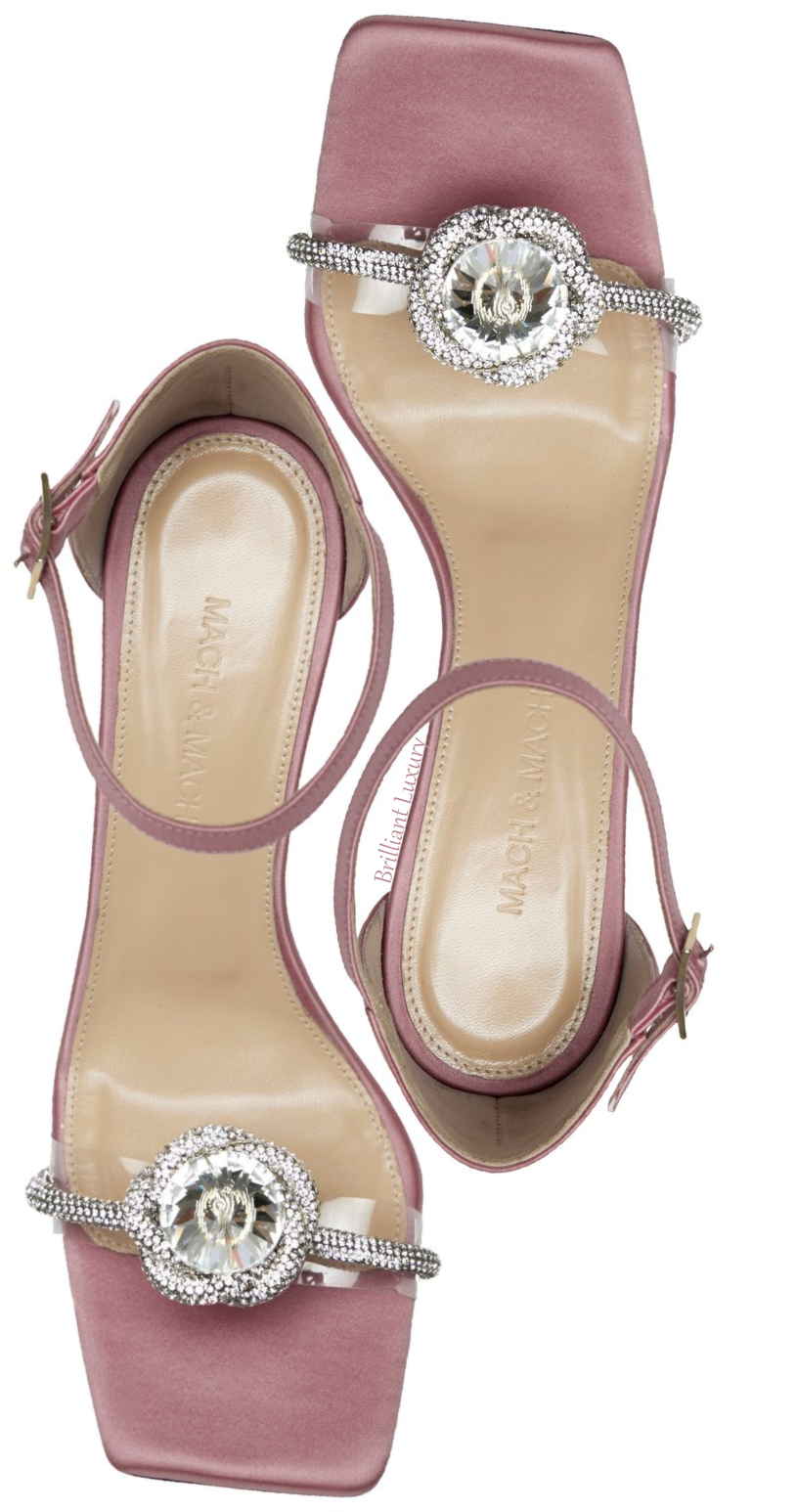 Mach & Mach light pink Rosie crystal satin sandal #brilliantluxury