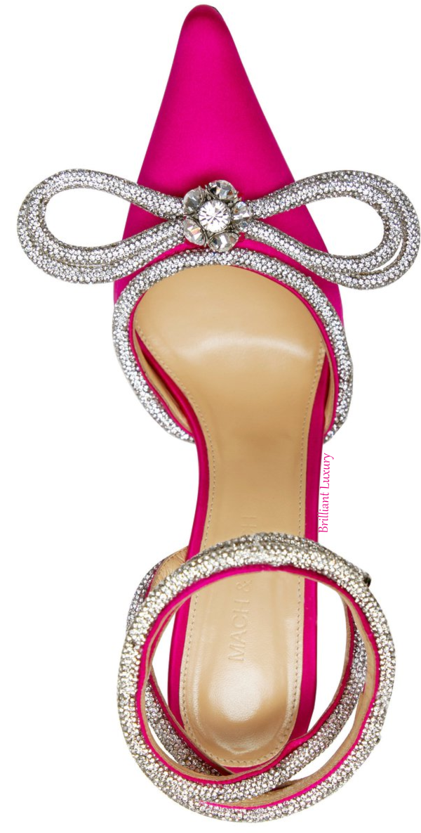 Mach & Mach hot pink crystal double bow pump #brilliantluxury