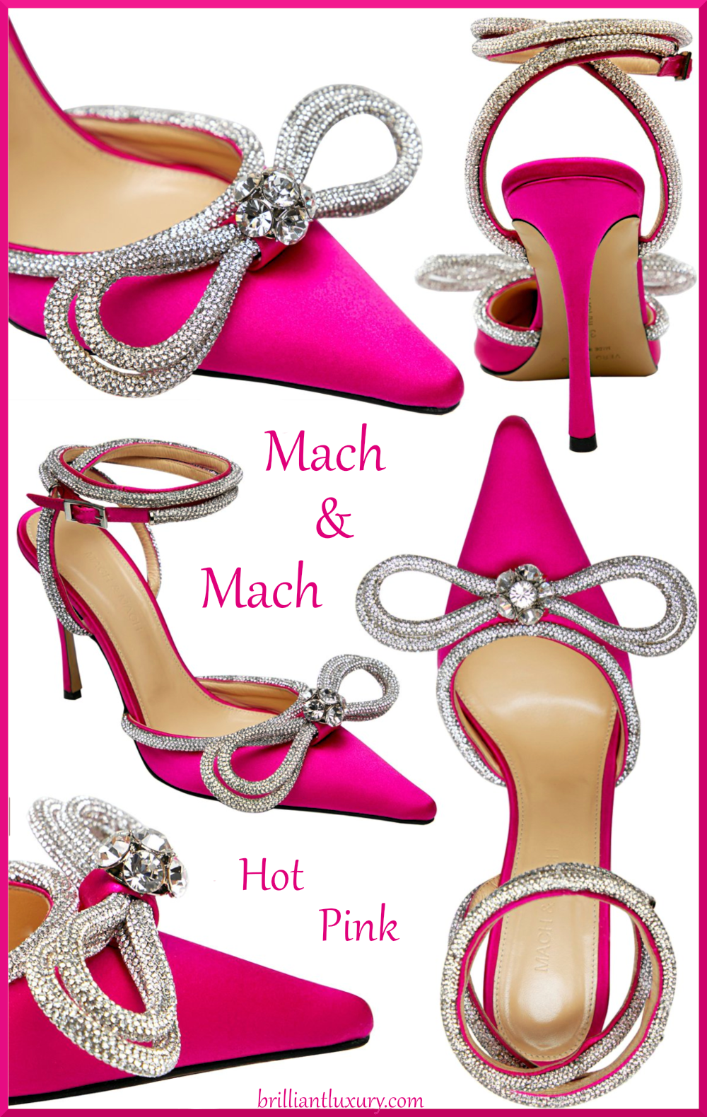 Mach & Mach hot pink crystal double bow pump colorful evening shoes #brilliantluxury