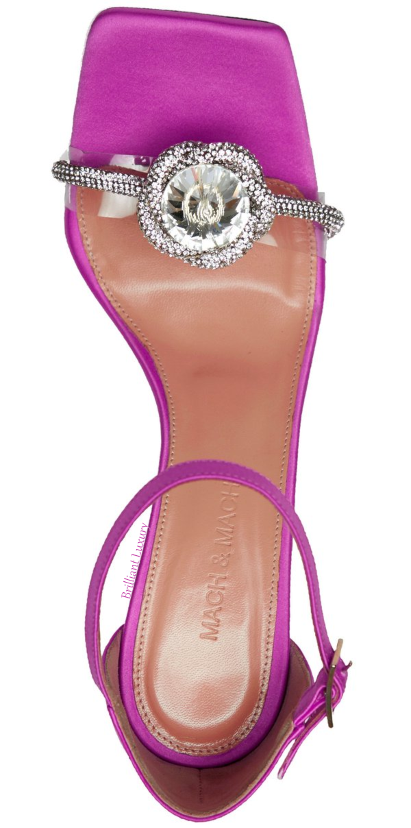Mach & Mach purple Rosie crystal satin sandal #brilliantluxury