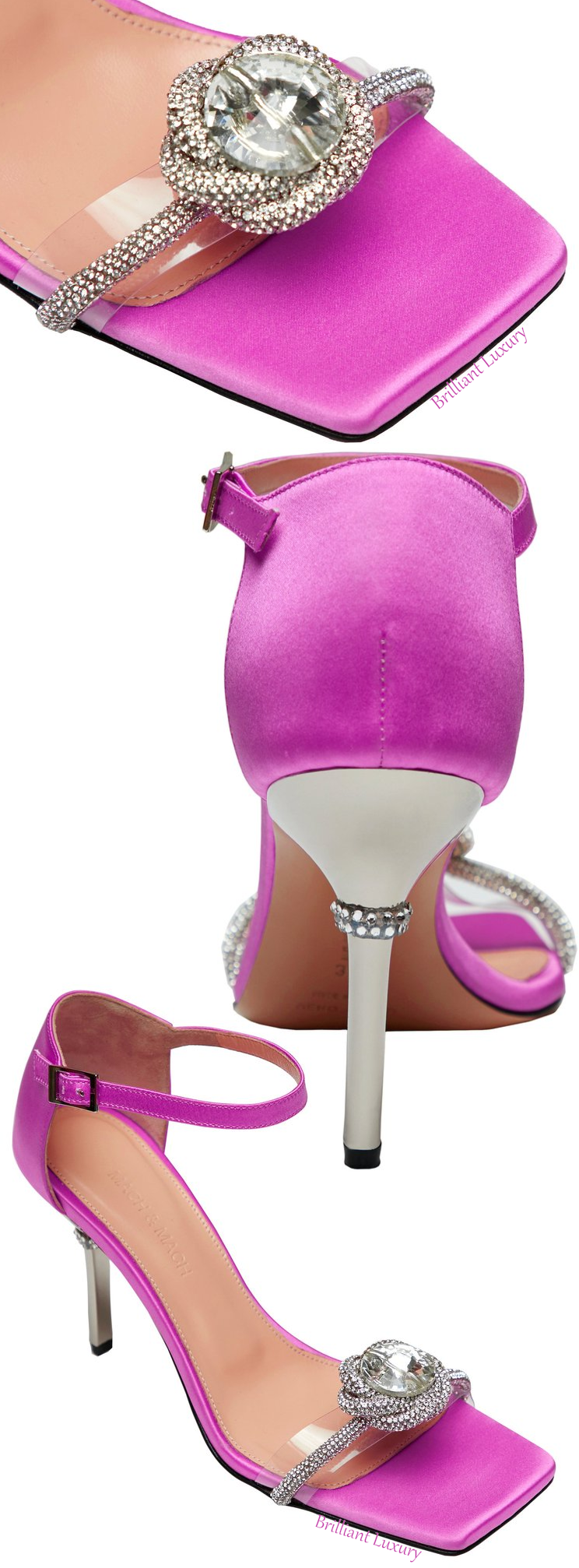 Mach & Mach purple Rosie crystal satin sandal colorful evening shoes #brilliantluxury
