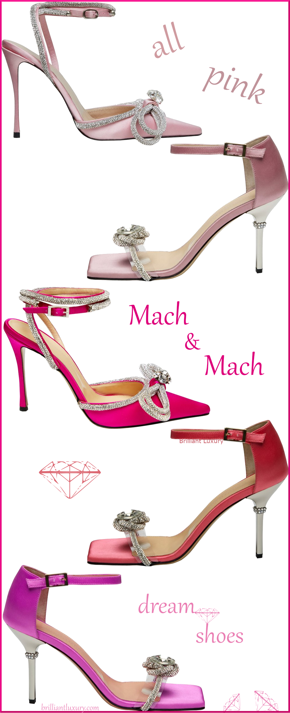 Mach & Mach 5 different pink bejeweled sandals and pumps colorful evening shoes #brilliantluxury