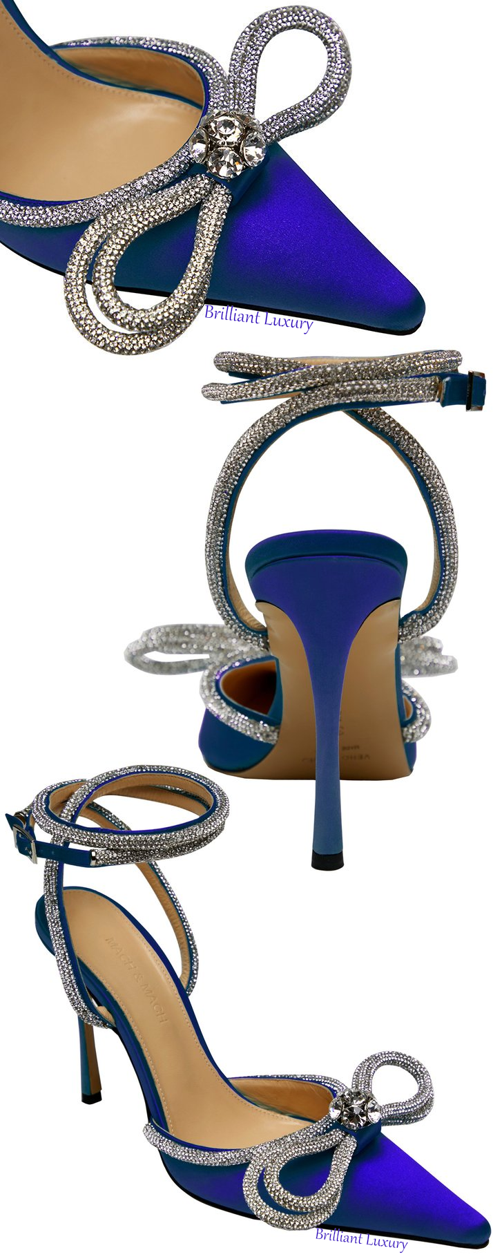 Mach & Mach royal blue crystal double bow pump #brilliantluxury