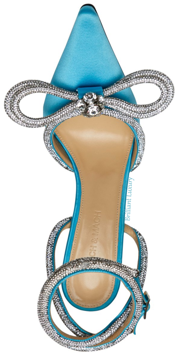 Mach & Mach turquoise blue crystal double bow pump #brilliantluxury