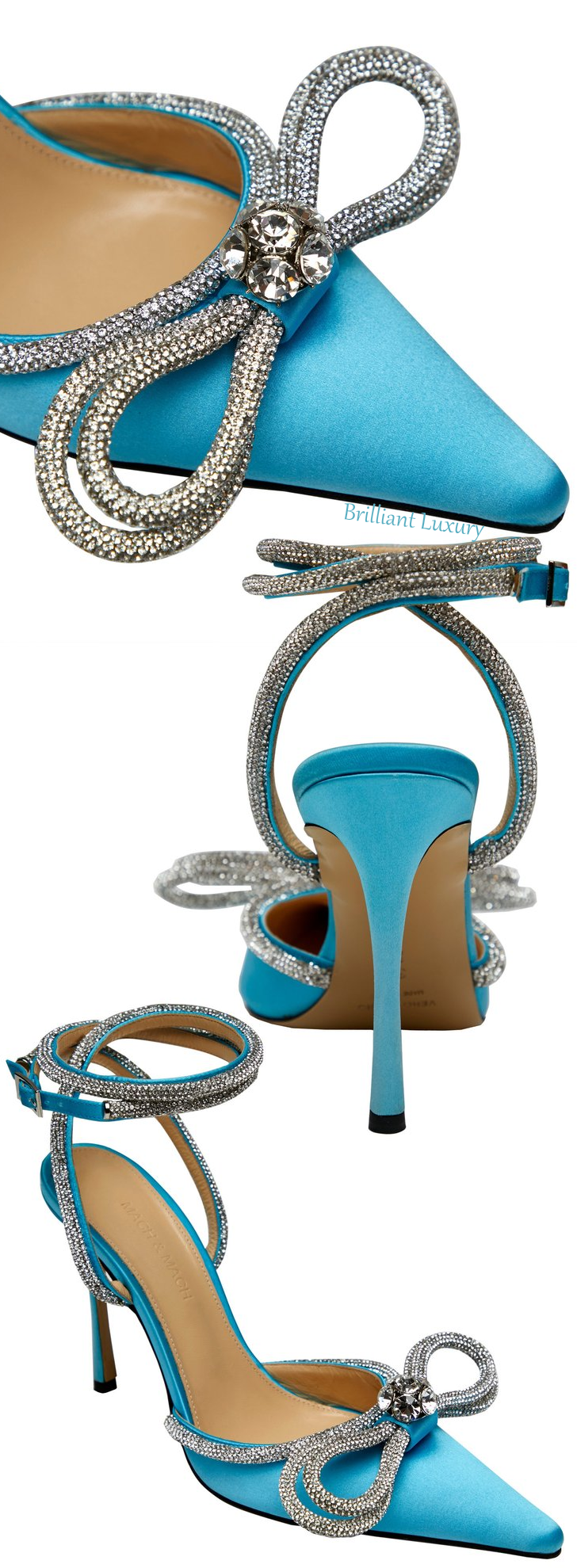 Mach & Mach turquoise blue crystal double bow pump colorful evening shoes #brilliantluxury