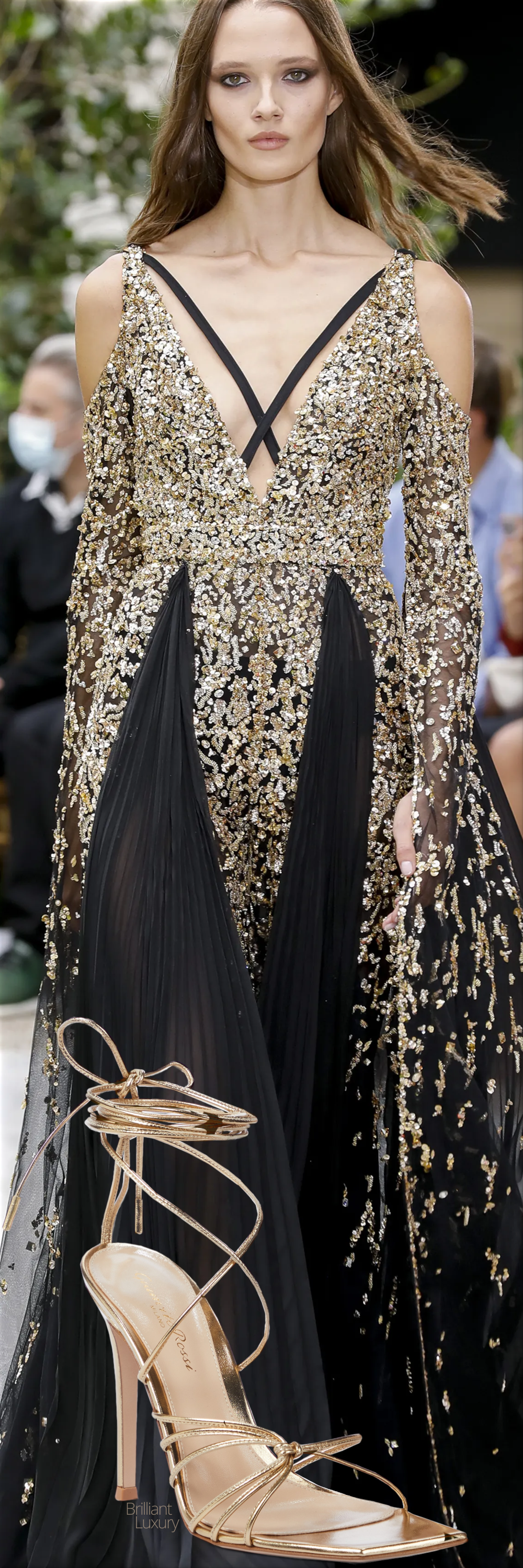 Zuhair Murad black & gold couture gown fall 2021 & Gianvito Rossi gold metallic strappy leather sandal #gianvitorossi #shoes #fashion #brilliantluxury