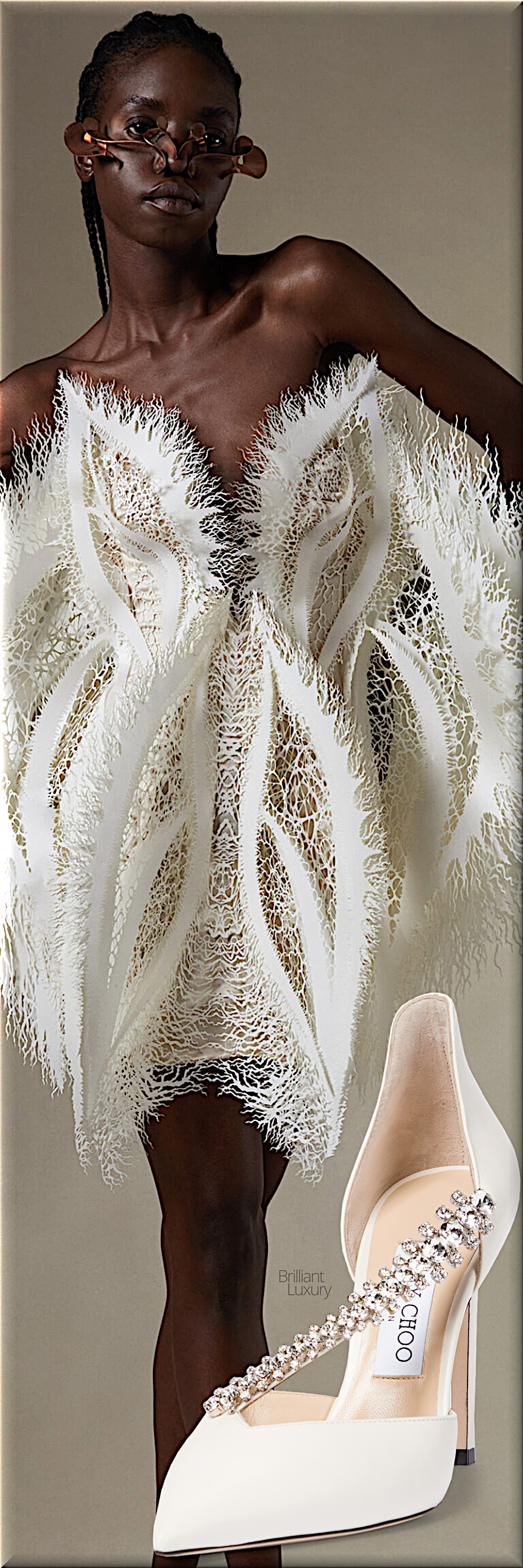 Iris van Herpen white couture gown fall 2021 & Jimmy Choo white Bee bejeweled leather pumps #fashion #brilliantluxury