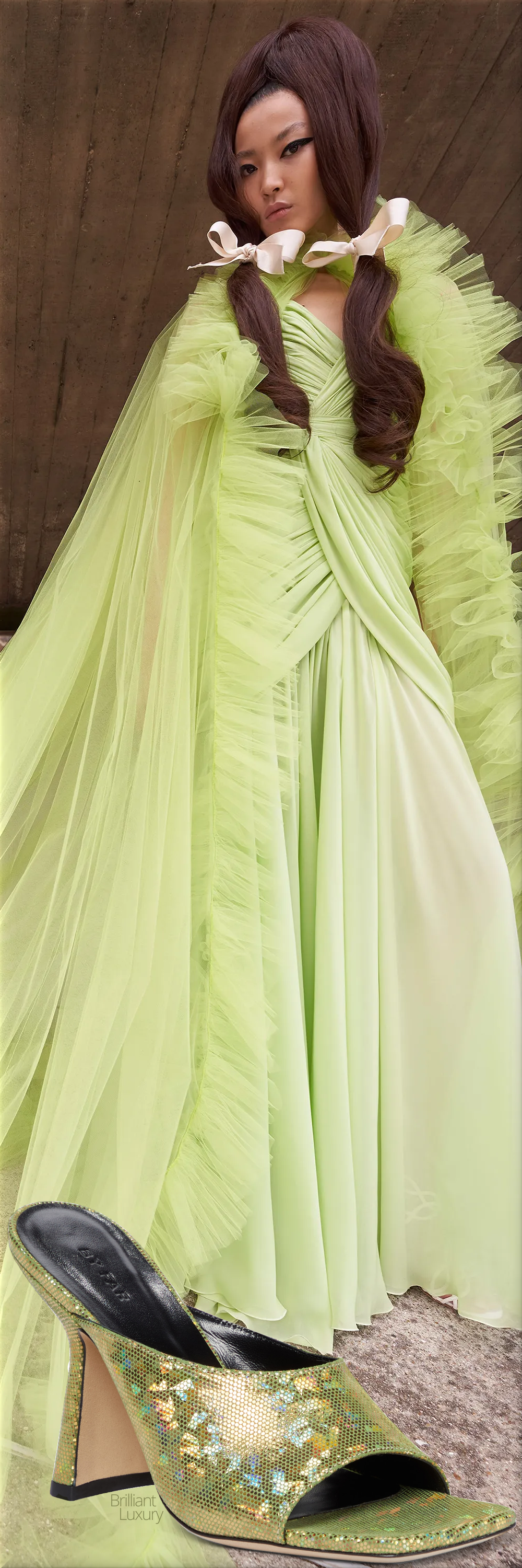 Giambattista Valli green couture gown fall 2021 & By Far Zaya disco green holographic leather mule sandals #shoes #fashion #green #brilliantluxury