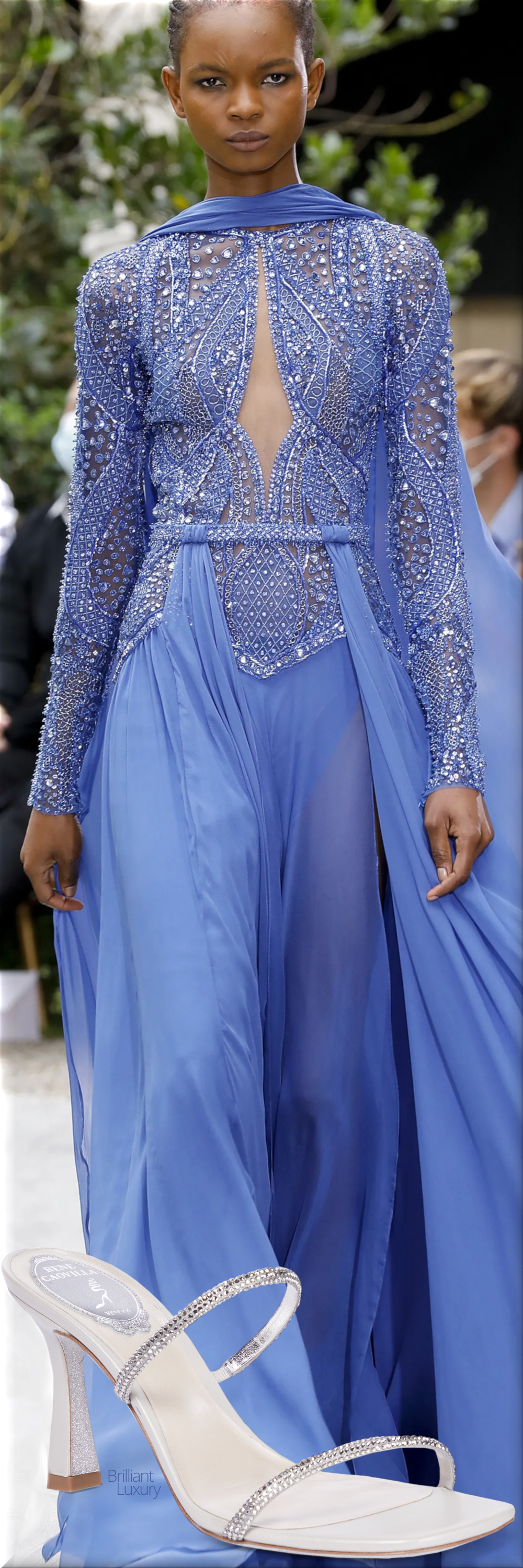 Zuhair Murad blue couture gown fall 2021 & Rene Caovilla Bessie crystal-embellished sandals #renecaovilla #shoes #fashion #blue #brilliantluxury